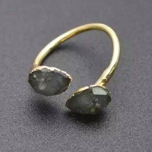 Labradorite Gold Plated Adjustable Ring